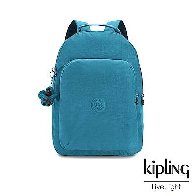 Kipling 靜謐藍綠色素面雙層後背包-GOULDI