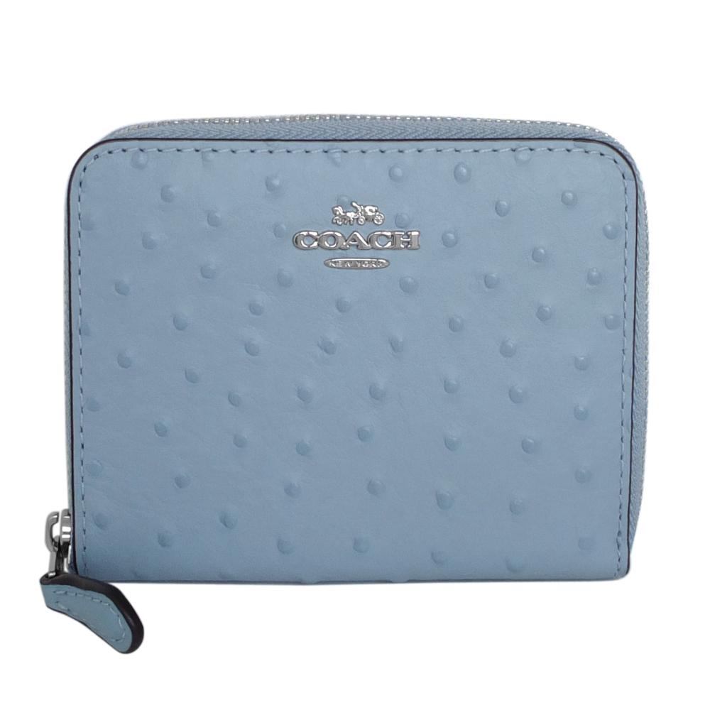 COACH水藍駝鳥紋全皮ㄇ型拉鍊短夾