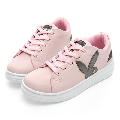 PLAYBOY 潮流感線條綁帶休閒鞋-粉-Y521399