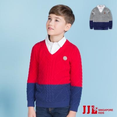 JJLKIDS 撞色假兩件式棉質長袖針織毛衣(2色)
