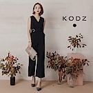 東京著衣-KODZ 無袖V領寬口顯瘦連身褲-S.M.L(共一色)