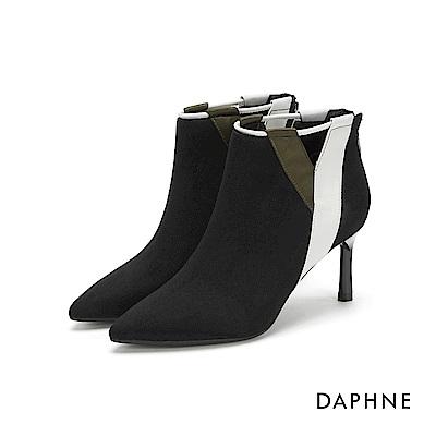 達芙妮DAPHNE 短靴-個性撞色拼接尖頭細高跟短靴-黑