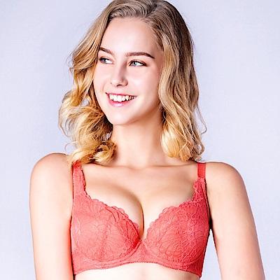 思薇爾 花靈美姬系列B-F罩蕾絲包覆內衣(茶花橘)