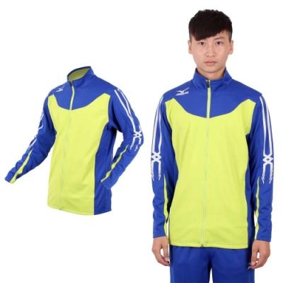 MIZUNO SLIM FIT 男運動外套-針織 立領 休閒外套 美津濃 芥末綠藍