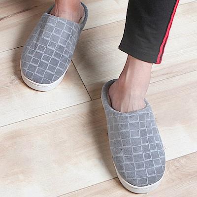 iSFun 包覆格紋男女刷毛保暖室內拖鞋 (多色多尺寸)