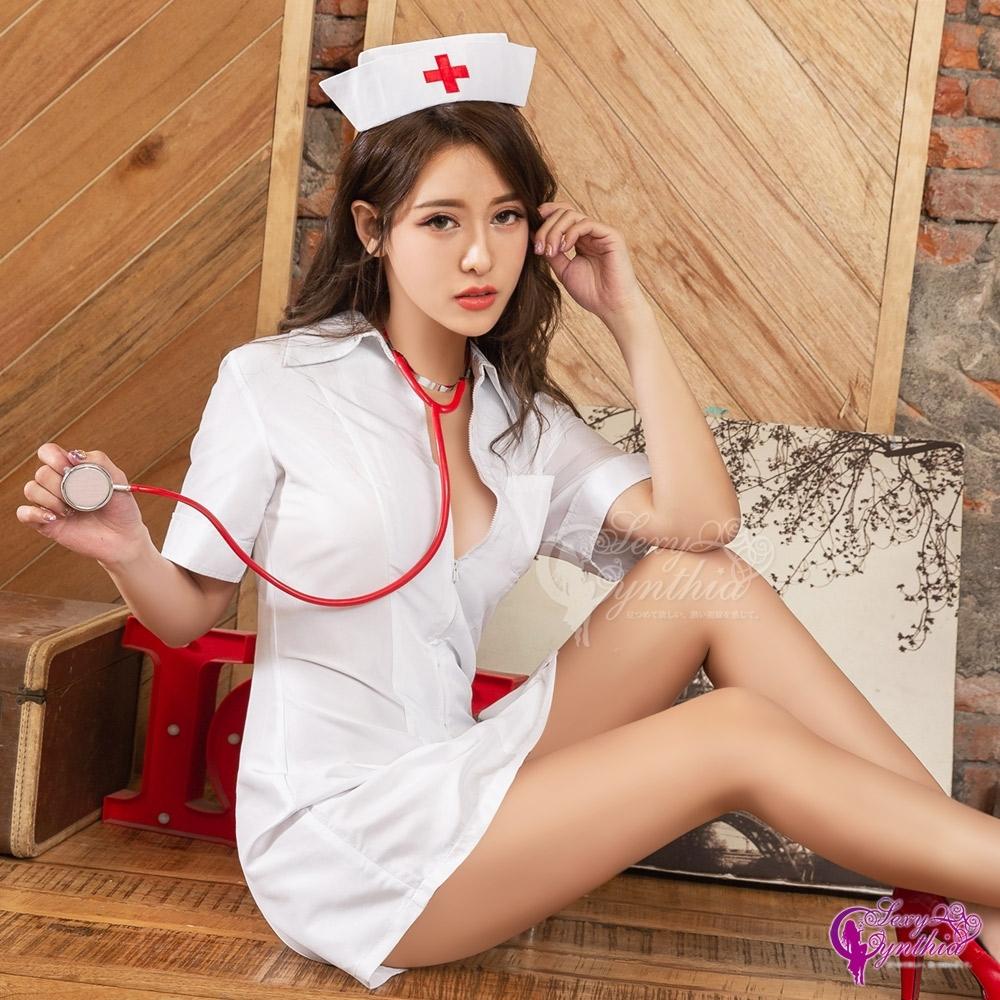 Sexy Cynthia 角色扮演 前拉鍊連身洋裝護士角色扮演服二件組 -白F