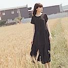 涼感不易皺純色壓褶設計層次雪紡洋裝-OB大尺碼