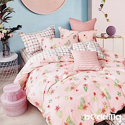 BEDDING-100%棉3.5尺單人薄式床包涼被三件組-幸福夢畫-粉