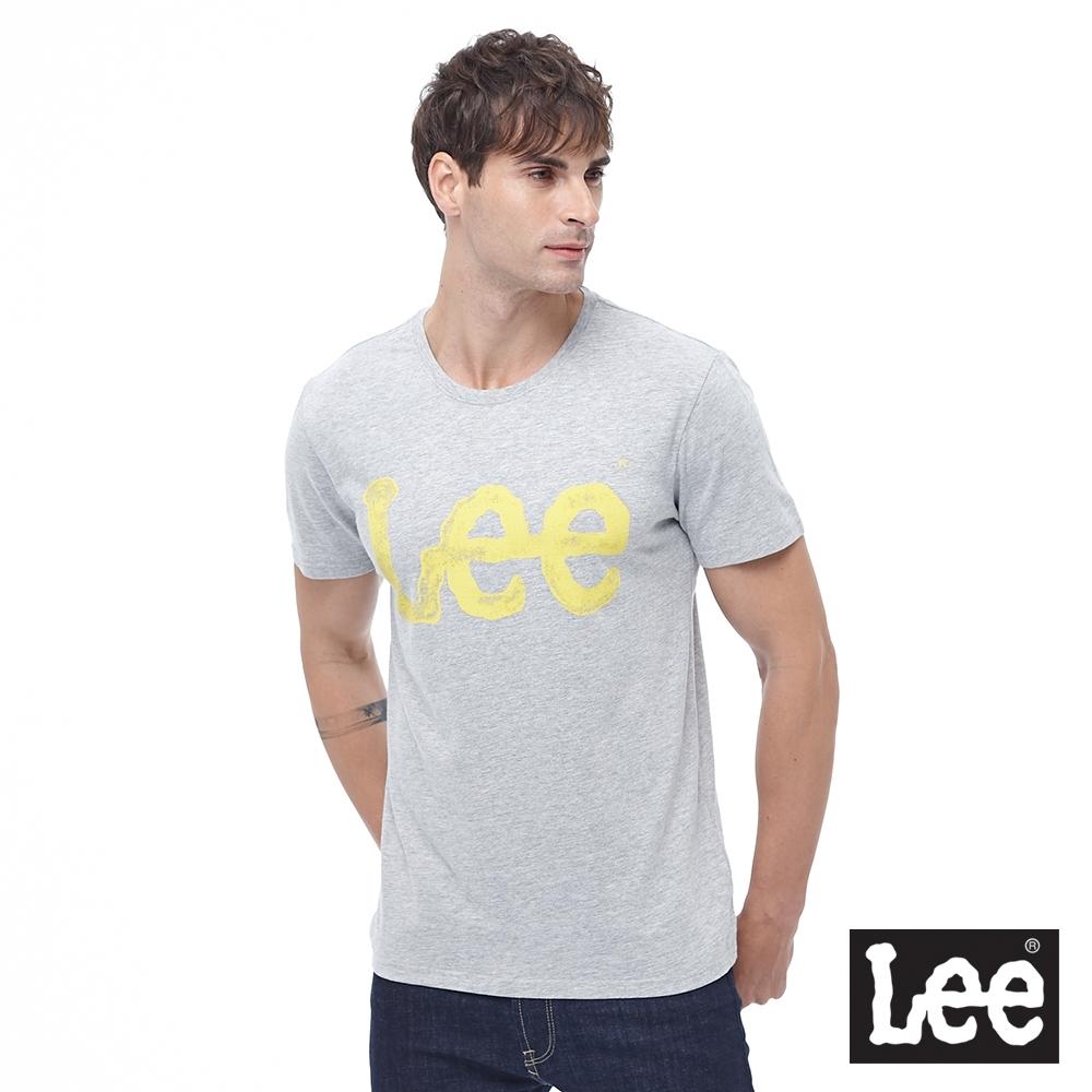 Lee 短T 黃色水彩大LOGO文字 圓領 男 灰