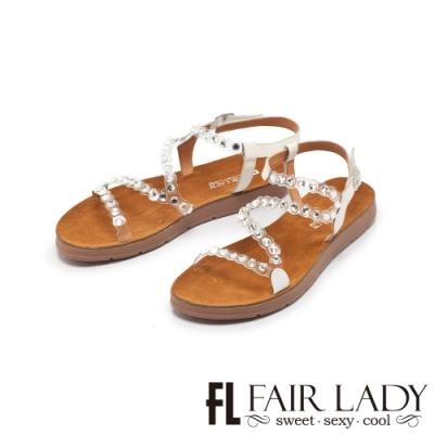 【FAIR LADY】透明感水鑽拼接平底涼鞋 白