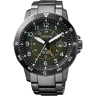 CITIZEN 星辰 PROMASTER 光動能第二地時間手錶-綠x灰/43.5mm