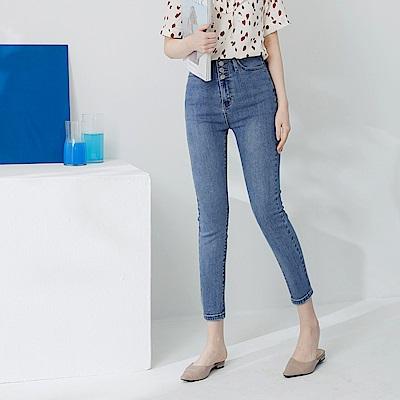 排釦設計彈力修身窄管牛仔褲-OB嚴選