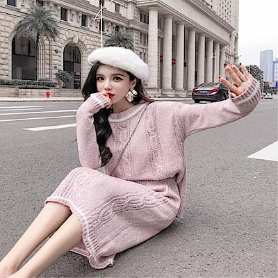DABI韓系女神慵懶風針織裙套裝長袖裙裝