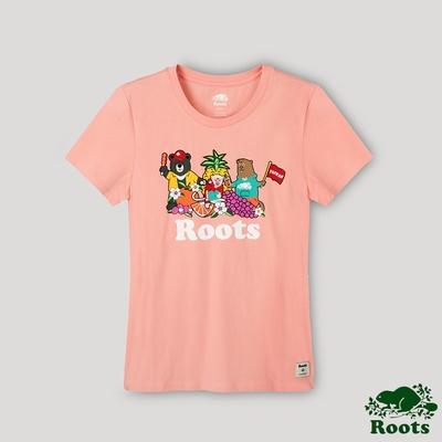 Roots女裝-台灣日系列 海狸與台灣好朋友短袖T恤-桃色