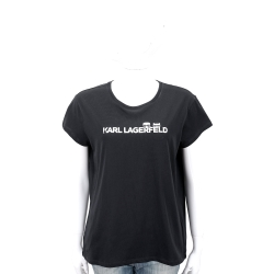 KARL LAGERFELD K/IKONIK 躲貓貓LOGO設計黑色棉質T恤