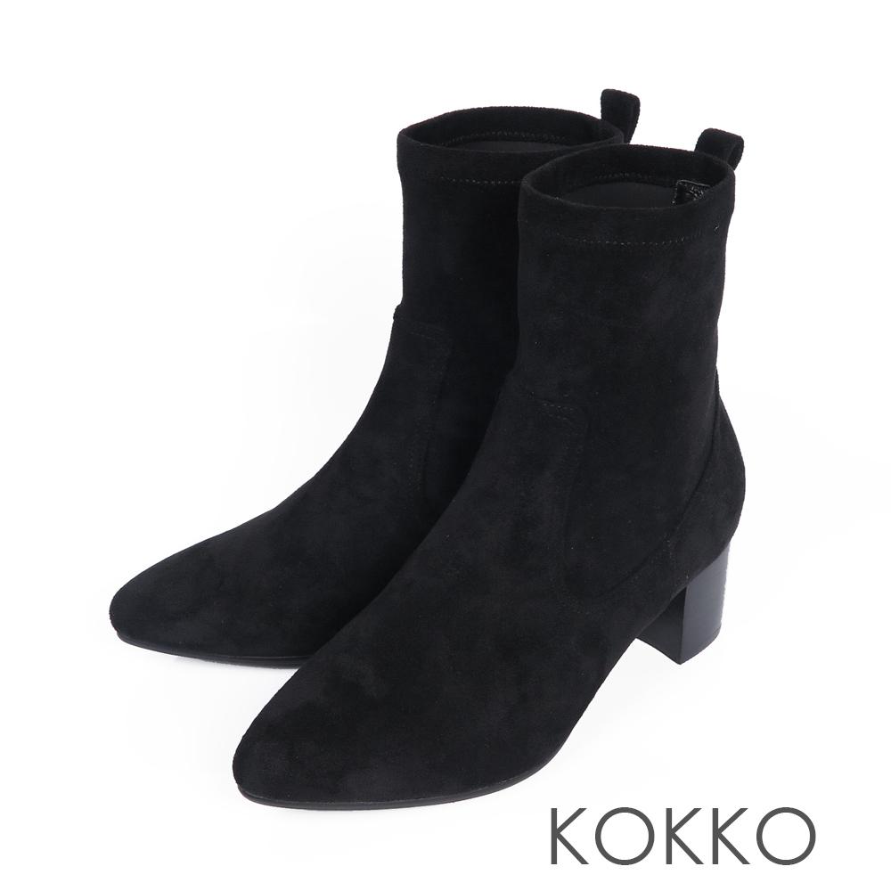 KOKKO-逆天纖細美腿彈力尖頭襪靴-霧面黑