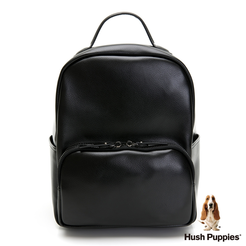 Hush Puppies 經典素面後背包-黑