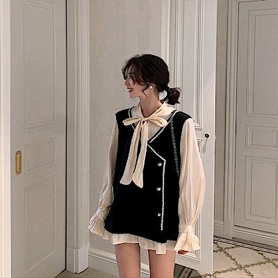 DABI 韓國學院風復古拼接假兩件時尚寬鬆長袖洋裝