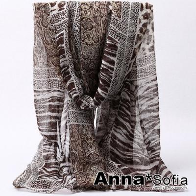 【2件450】AnnaSofia 野感獸紋 巴黎紗披肩圍巾(咖系)
