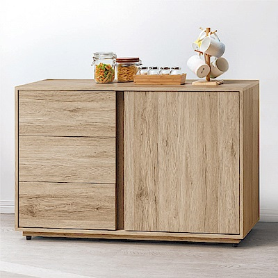 綠活居 伊琳時尚4尺開門三抽餐櫃/收納櫃-121x40x80.2cm免組