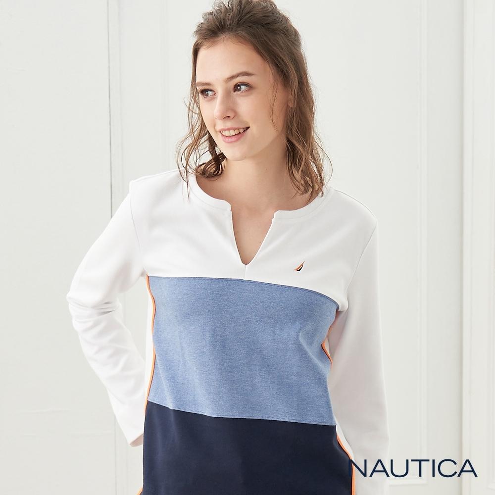 Nautica 女裝V型領口漸層拼接長袖T恤-白