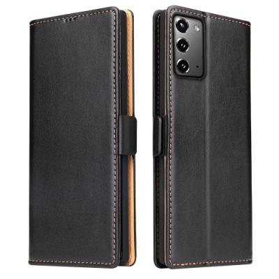 Fierre Shann 真皮紋 Samsung Note 20 (6.7吋)) 錢包支架款 磁扣側掀 手工PU皮套保護殼