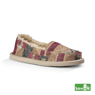 SANUK 女款 US5 帆布編織內刷毛娃娃鞋(自然色)