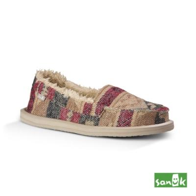 SANUK 女款 US7 帆布編織內刷毛娃娃鞋(自然色)