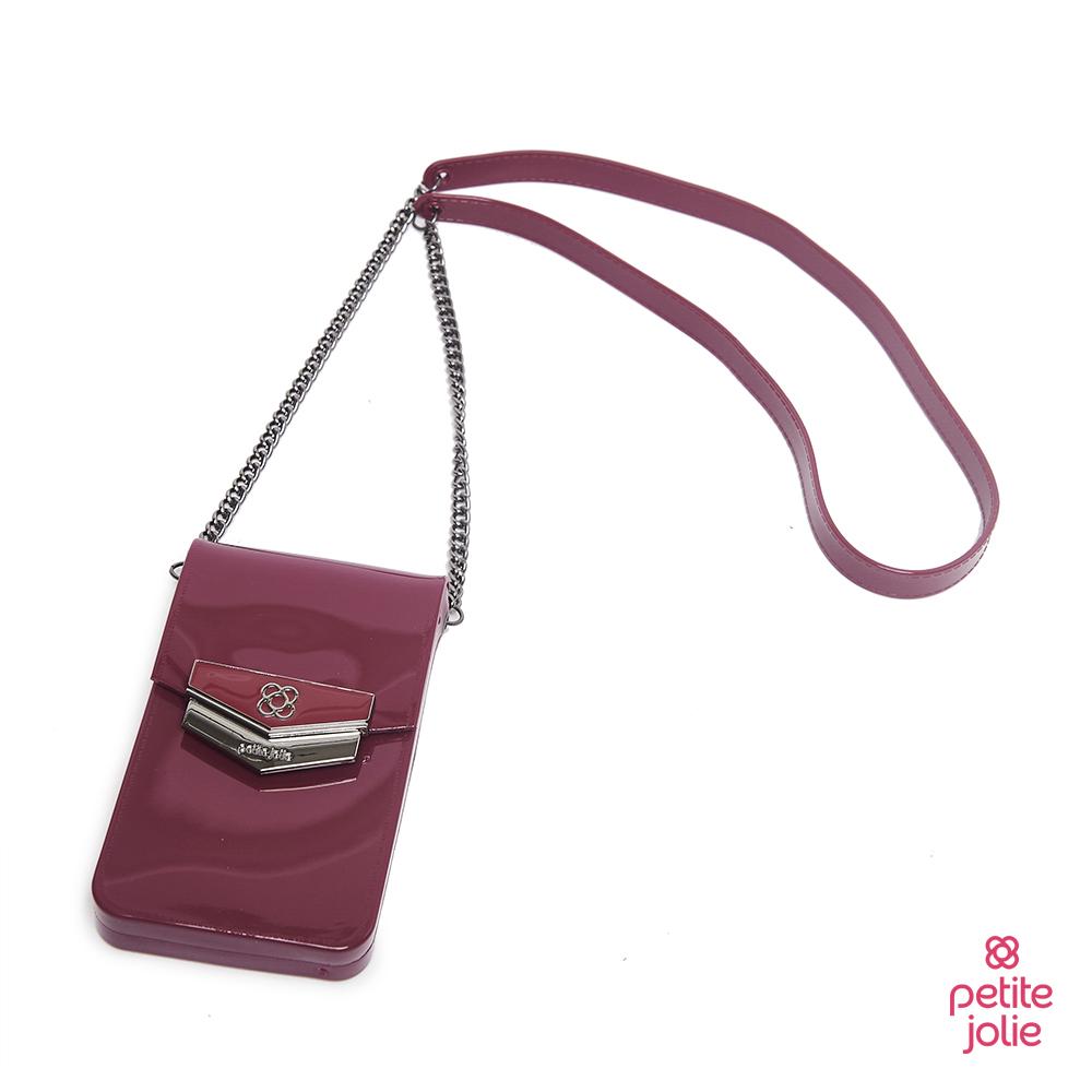 Petite Jolie-盾牌LOGO果凍手機包-酒紅