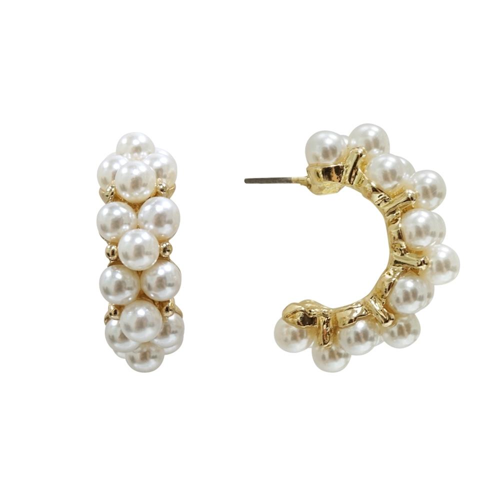 Prisme 美國時尚飾品 復古滿鑲珍珠 金色耳環