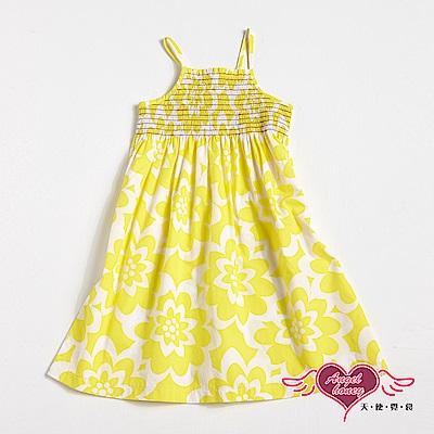 【天使霓裳-童裝】南洋風情 兒童細肩帶連身小洋裝(黃)