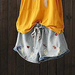 素雅破洞刺繡熱褲寬鬆純棉牛仔短寬管褲-設計所在