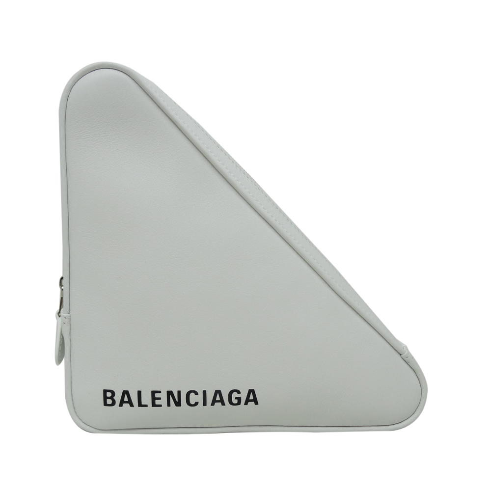 BALENCIAGA 小牛皮手拿收納包(白色黑字)BALENCIAGA