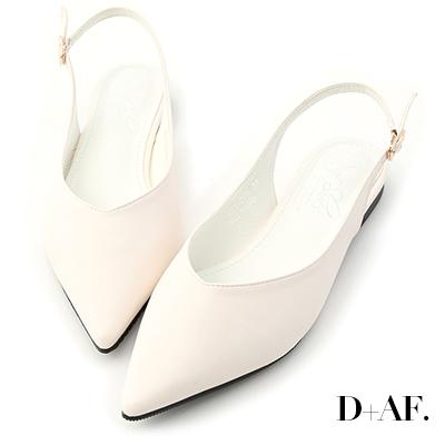 D+AF 純色優雅.V口尖頭後空平底鞋*白