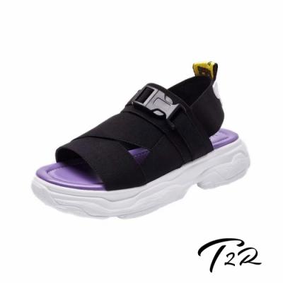 T2R 正韓空運-2019夏季新款織帶厚底涼鞋-微增高3.5cm-黑