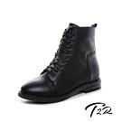 T2R-正韓空運-真皮綁帶拉鍊韓版個性百搭短靴-黑-增高6公分