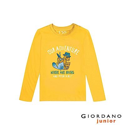 GIORDANO 童裝冒險旅程印花長袖T恤-61 黃色