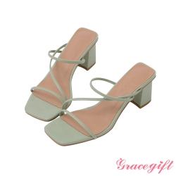 Grace gift-Z字方頭高跟涼拖鞋 淺綠