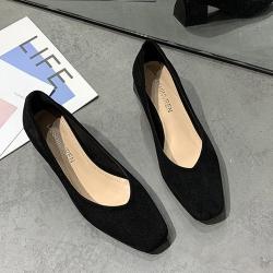 KEITH-WILL時尚鞋館 韓國氣質學院優雅方頭跟鞋-黑