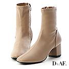 D+AF 完美主義.素面車線中跟襪靴*杏
