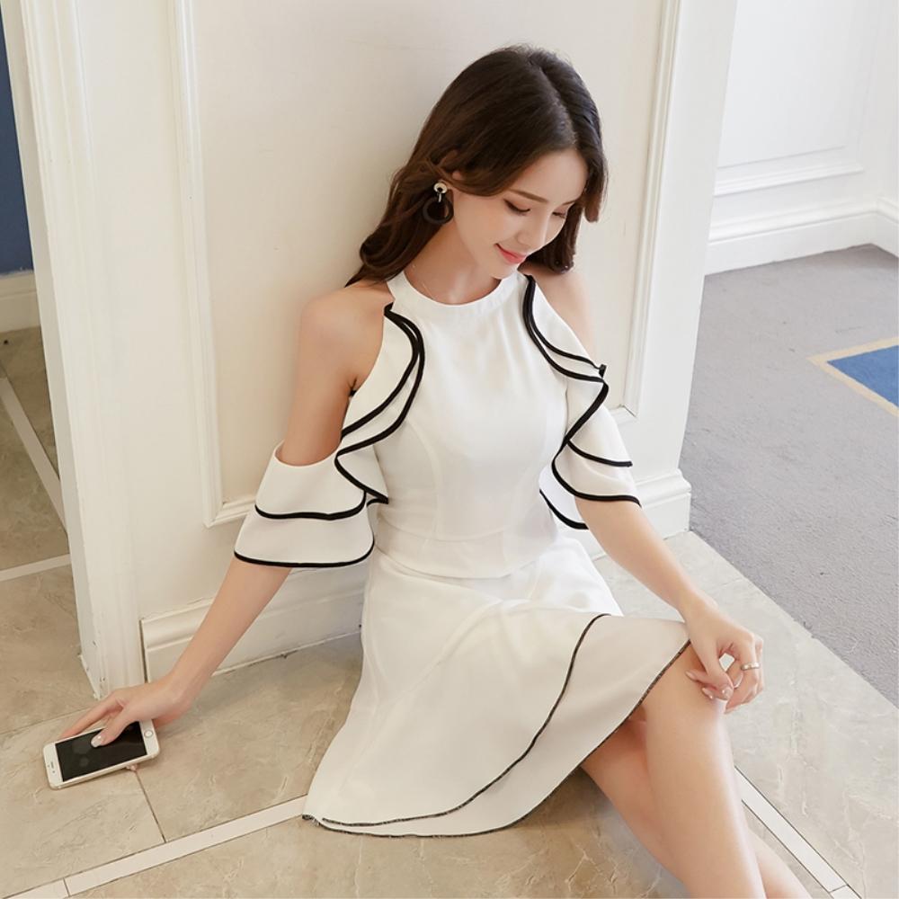 DABI 韓國風時尚露肩夏裝雪紡氣質短袖洋裝
