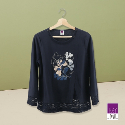 ILEY伊蕾 典雅蕾絲貼花七分袖縷空上衣(藍)