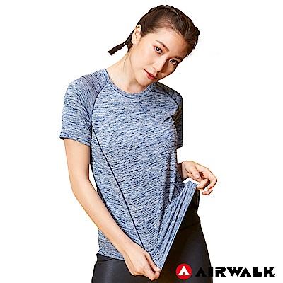 【AIRWALK】女款吸排短T-麻灰藍