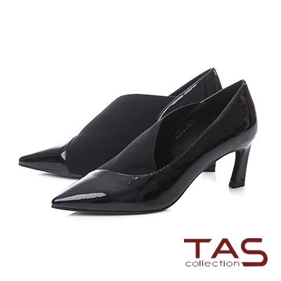 TAS素面牛漆皮彈力布拼接尖頭高跟鞋-簡約黑