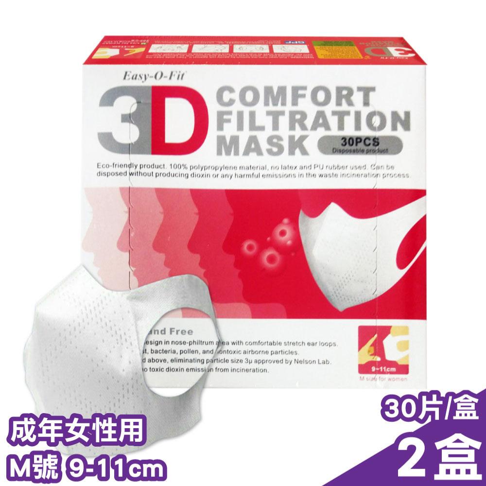 超服貼 3D立體口罩 (M號9-11cm) (成年女性用) 30片/盒X2盒 (台灣製造 細菌過濾BFE平均高達95%)