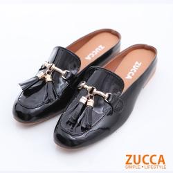 ZUCCA-亮面皮流蘇金屬拖鞋-黑-z6321bk