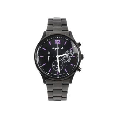 agnes b. 蜥蜴圖騰三眼計時腕錶-黑x紫時標/39mm