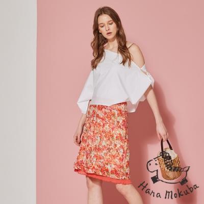 sandwish_ 荷蘭製 氣質顯白印花拼接造型裙-珊瑚橘
