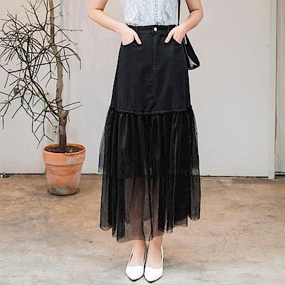高含棉多層次飄逸網紗拼接長裙-OB大尺碼