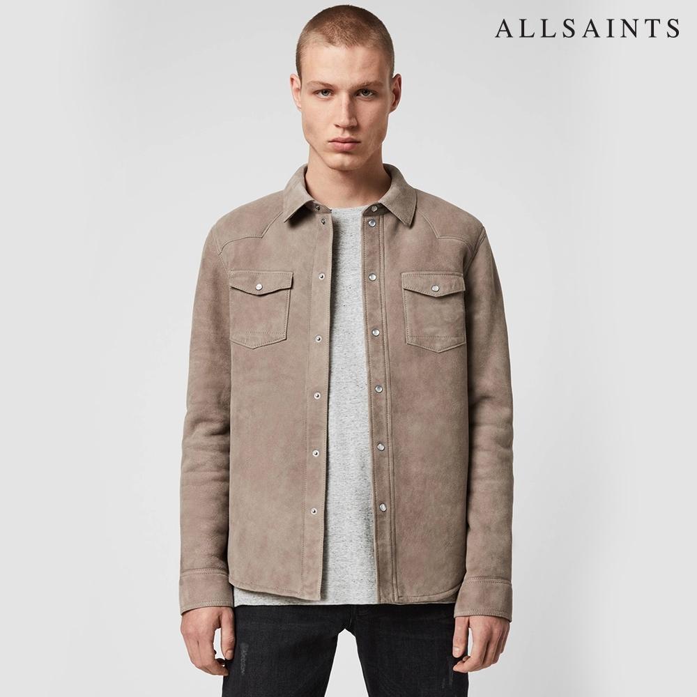 ALLSAINTS WALBROOK 經典時尚素面雙口袋修身羊皮長袖襯衫-淺棕